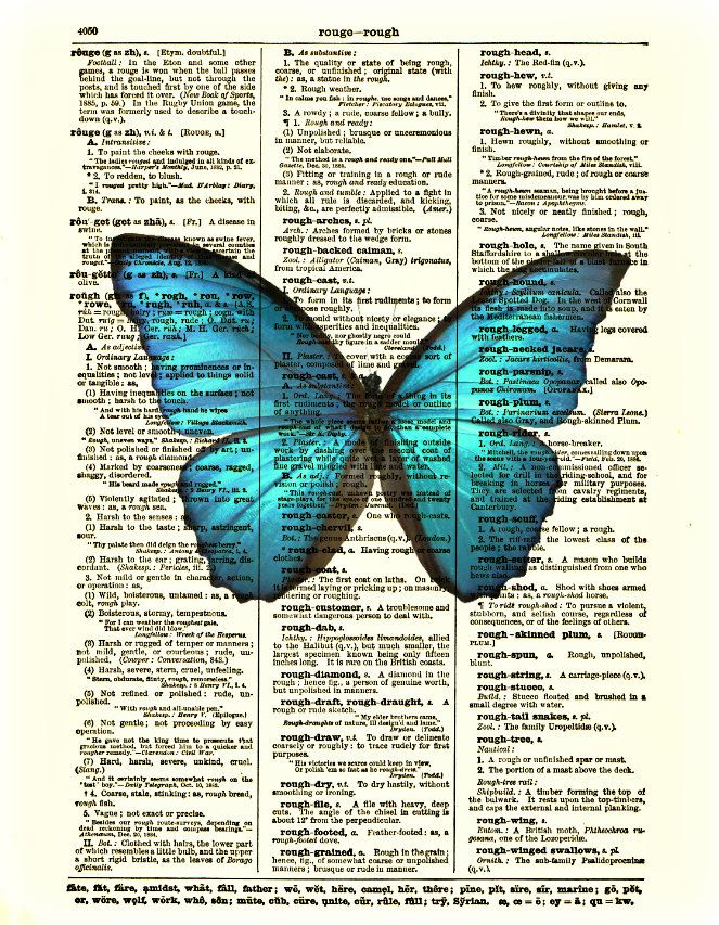 Antique Dictionary Print With Moth BEAUTIFUL Wall Hanging! BLUE BUTTERFLY ART