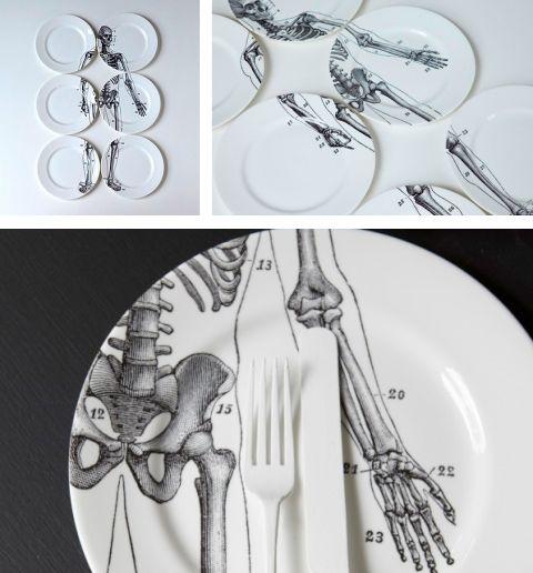 interesting and cool.  Bone China  skeleton plate set. | macabre surreal fabulous | Pinterest | Skeletons China and Dinnerware & interesting and cool.
