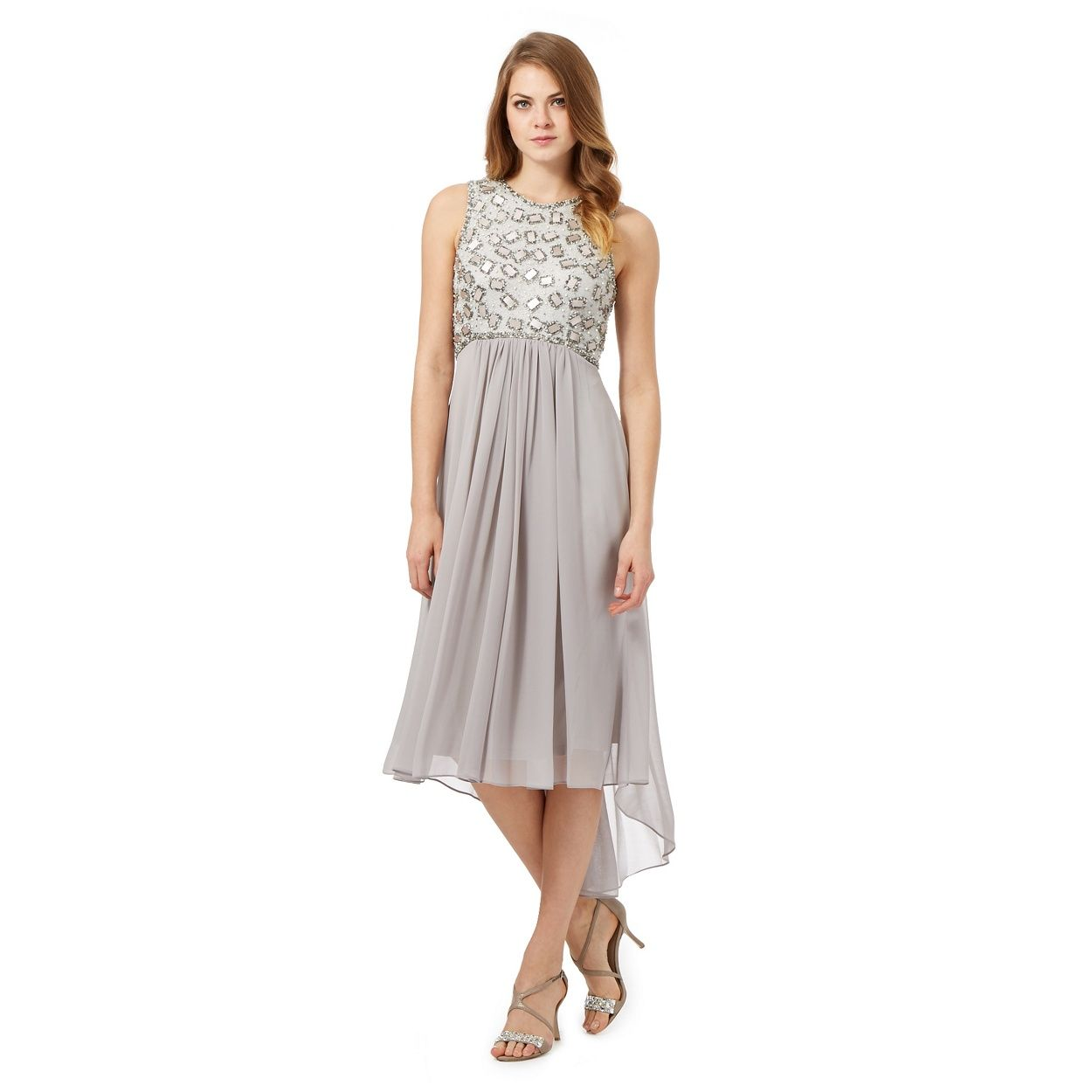 No. 1 Jenny Packham Silver \'Calista\' hand-embellished dress ...
