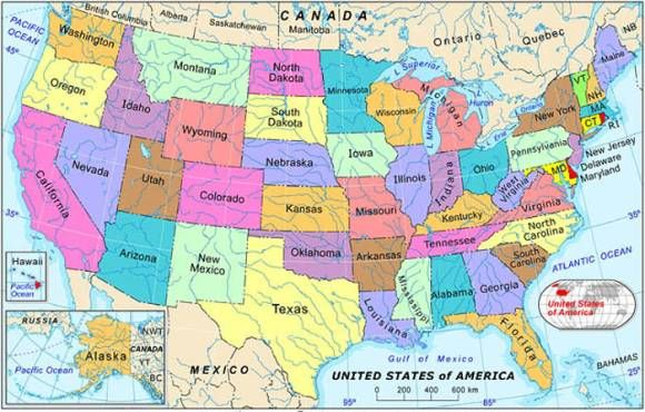 picture of the united states map labeled | Labeled map of the united ...