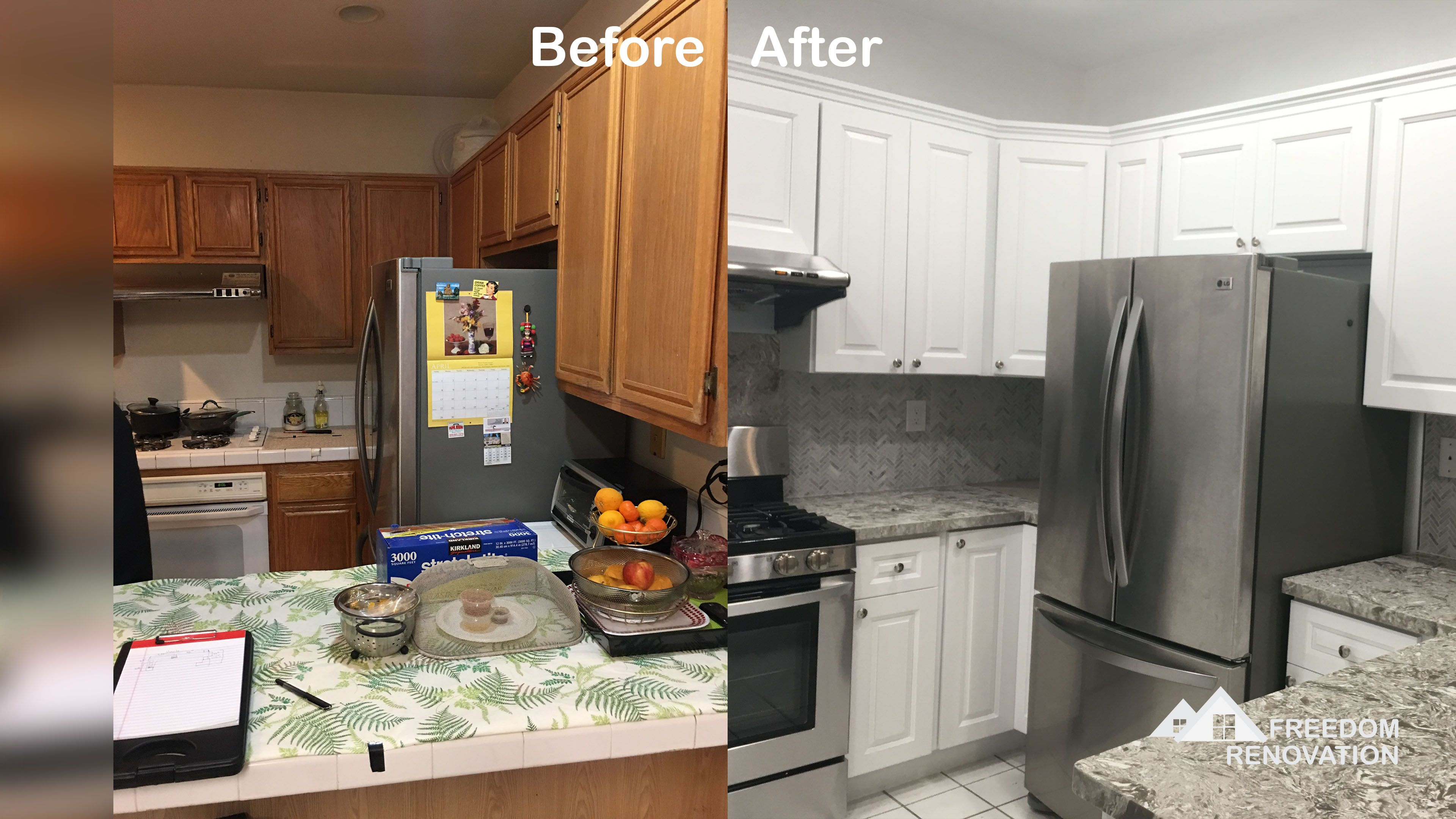 Before And After Of A Kitchen Remodel Brought To You
