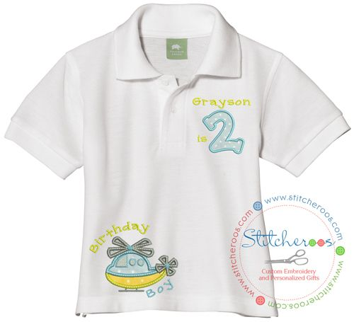 5658276d Stitcheroos personalized Boy Helicopter shirt or Onesie embroidered by  Stitcheroos First Birthday Pictures, First Birthday