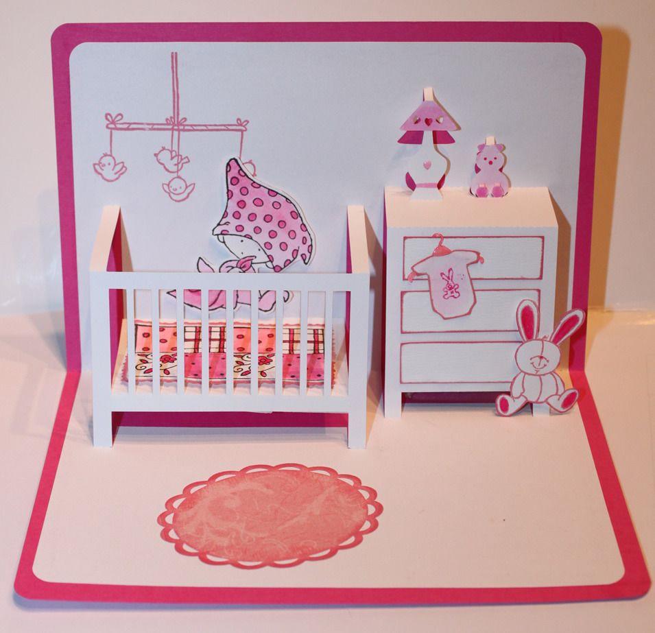 Carte pop up naissance f licitation rose cartes par scrapanne44 gru karten pinterest - Carte pop up a fabriquer ...