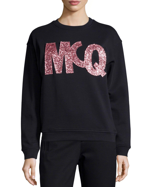 c980e774 Classic Glitter Logo Sweatshirt, Darkest Black, Women's, Size: XL - McQ  Alexander McQueen