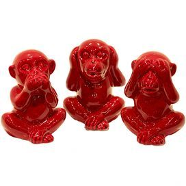 """Set of three ceramic wise monkeys in glossy red.   Product: 3 Piece monkey décor set Construction Material: CeramicColor: RedDimensions: 6"""" H x 4.5"""" W x 4"""" D each"""