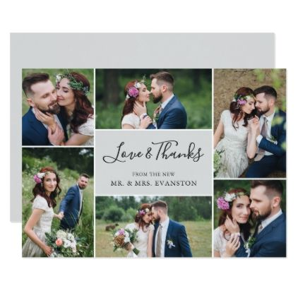 photo collage wedding thank you flat card gray wedding