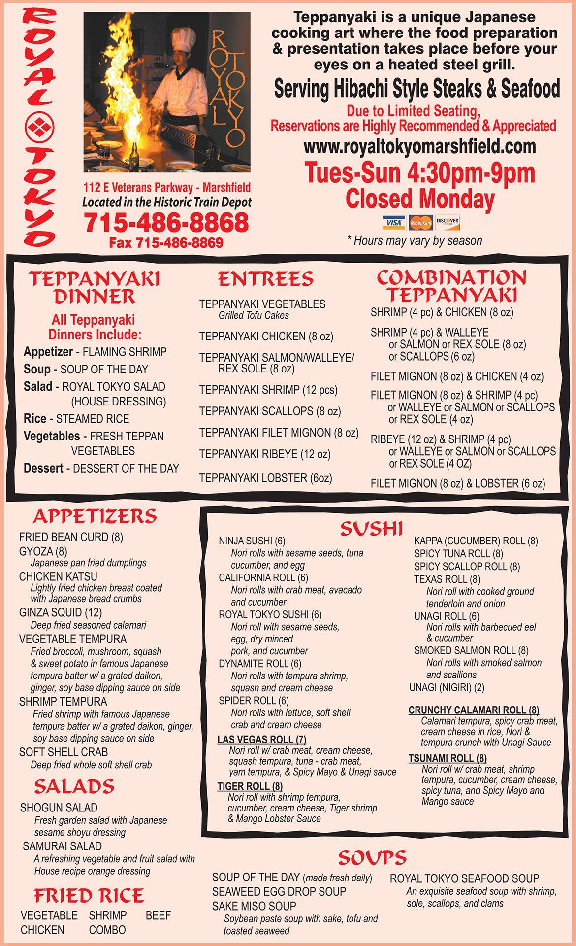 Pin By Mueller Publishing Inc On 2016 17 Restaurant Menus In Central Wi Menu Restaurant Teppanyaki Dining Menu