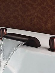 148 49 Simple Classic Style Widespread Waterfall Brass Valve Two