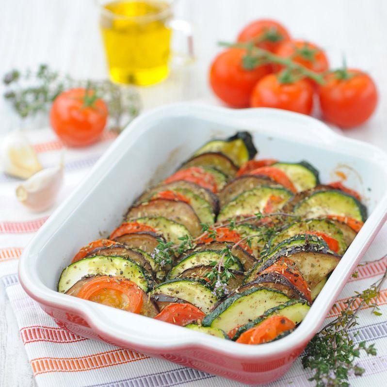 Découvrez la recette Tian aux herbes de Provence sur cuisineactuelle.fr.