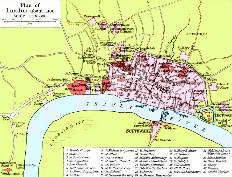 A map of London circa 1300 CE You can see Westminster Abbey and