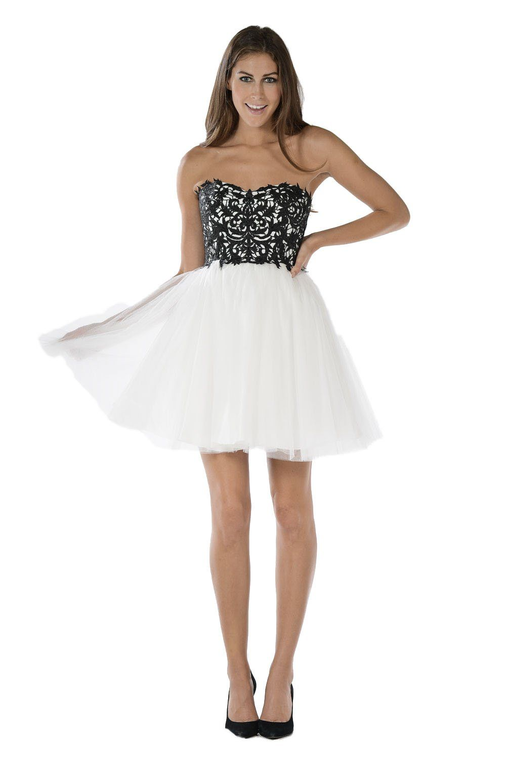 Blackwhite short strapless dress with lace bodice by poly usa