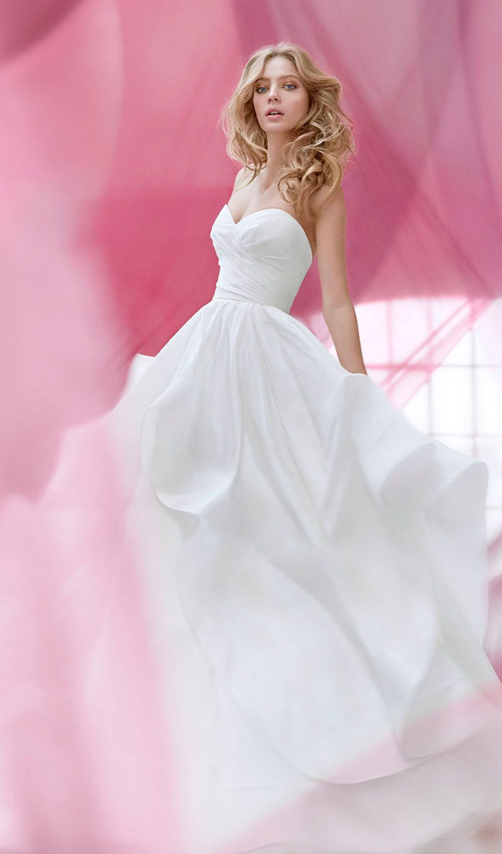 Try this ivory draped taffeta wedding dress with strapless ...