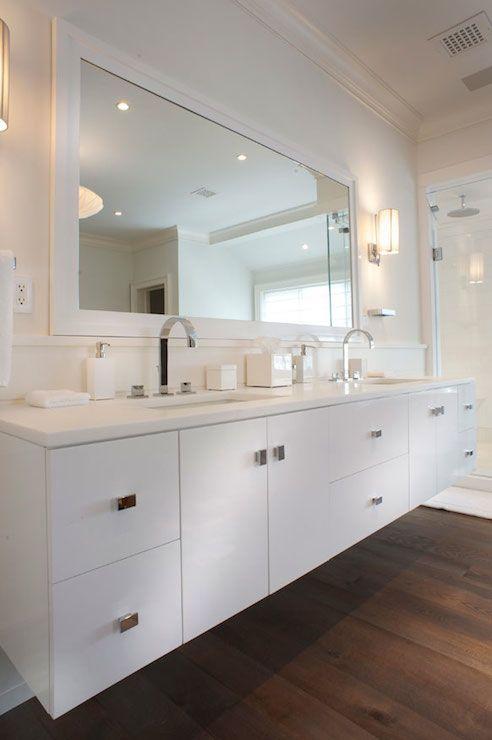 East End Country Kitchens Bathrooms Hardwood Floors White Dual Vanity White Double Vani Modern White Bathroom Hardwood Floors In Bathroom Bathroom Design