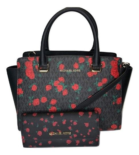 0d8872550d51 Michael Kors Hayes Large Duffle with Phone Wallet Set Signature Mk Black Red  Roses Leather Satchel in 2019