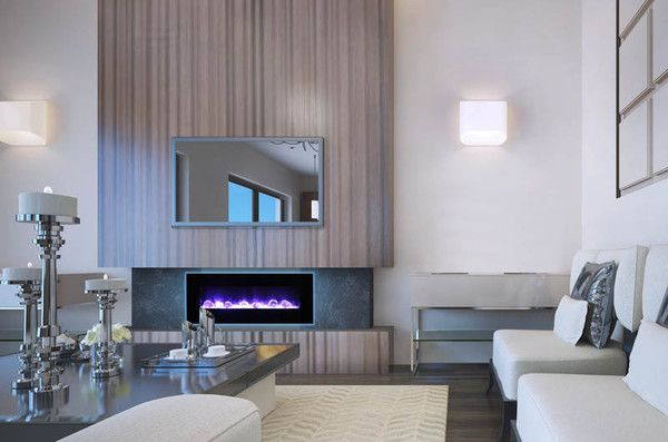 The WM-FM-48-5823-BG is an elegant looking electric fireplace. This contemporary fireplace can be built in flush or wall mounted with included brackets.
