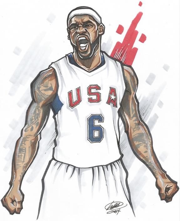 LeBron James \'USA\' Illustration | Basketball art | Pinterest ...
