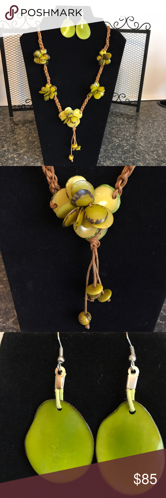 Intricately designed and made Tagua necklace set This avocado Green necklace is made from Organic Tagua, which is the seed of the palm tree fruit, otherwise known as Vegan Ivory. It is hand picked, carved, colored, designed and placed together to make delicate yet natural design placed on a tan hemp knotted durable string.The color is waterproof and will not fade. Tagua being a natural material has blemishes which gives it an elegant yet a more natural look. Jewelry