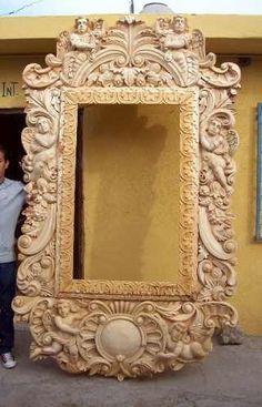 Marco tallado a mano adornos barrocos pinterest for Disenos de marcos de madera para espejos
