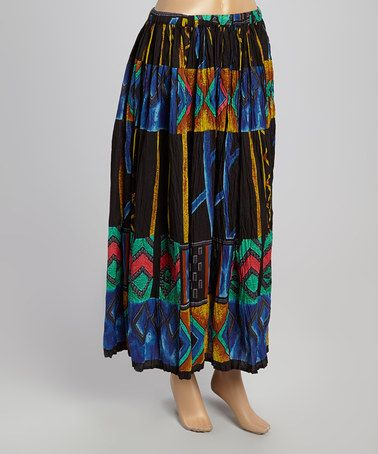 Love this Cobalt & Black Diamond Crinkle Maxi Skirt - Plus by Le Mieux on #zulily! #zulilyfinds