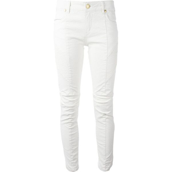 Pierre Balmain Ribbed Detail Cropped Jeans (1.525 BRL) ❤ liked on Polyvore featuring jeans, cropped jeans, pierre balmain, pierre balmain jeans, white cropped jeans and white jeans