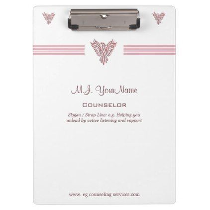 #stripes - #Personal Counselor luxury stripes and pink phoenix Clipboard