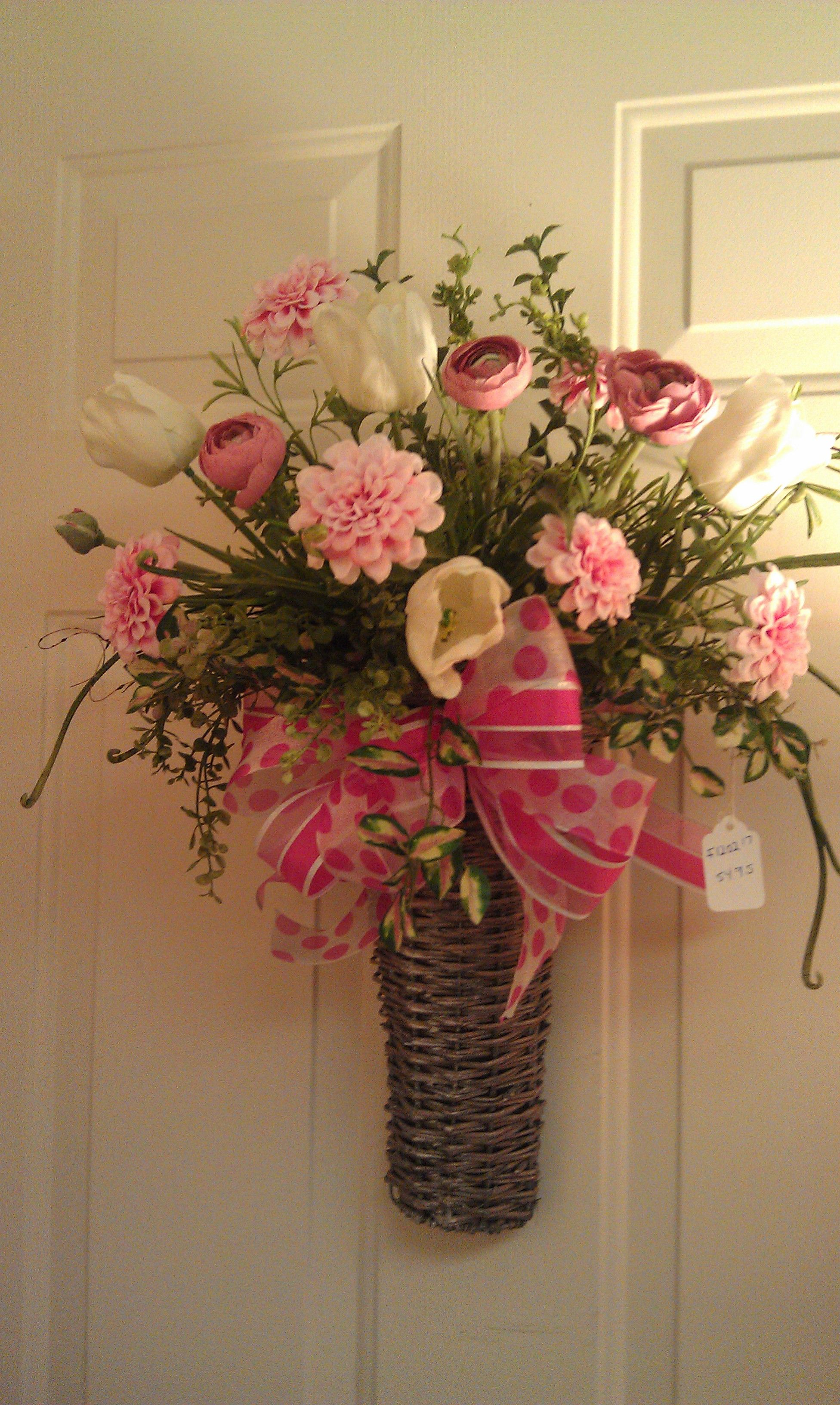 Pretty Wall Basket With Spring Flowers and Bow. Baskets ... on Decorative Wall Sconces For Flowers Arrangements id=20953