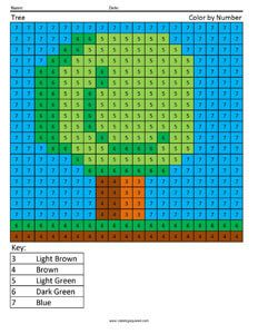 Minecraft Tree Color By Number Worksheet