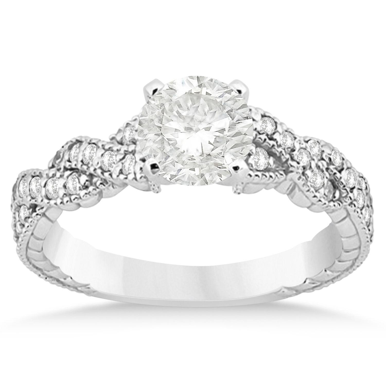 Diamond Braided Engagement Ring Setting 14k White Gold (0