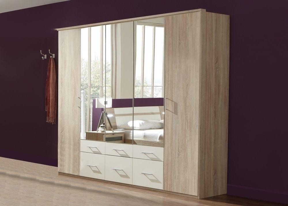 Schlafzimmerschrank weiß  Kleiderschrank 225 Modest Sägerau Weiß Spiegel 723. Buy now at ...