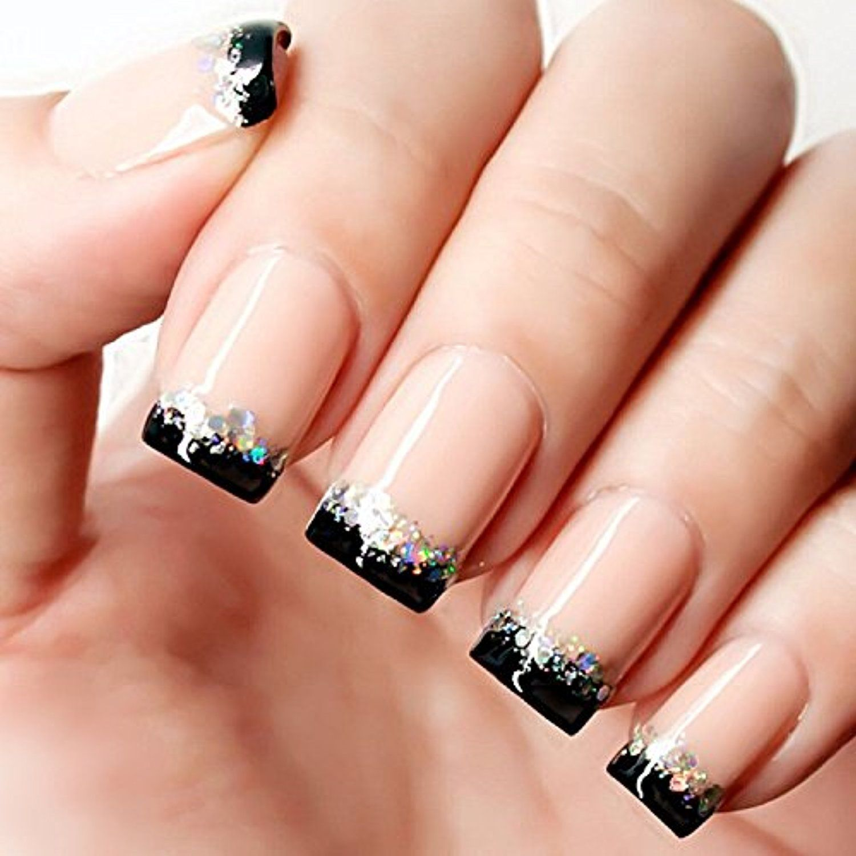 YUNAI French Fake Nail Nude Nails with Black and Glitter Top ...