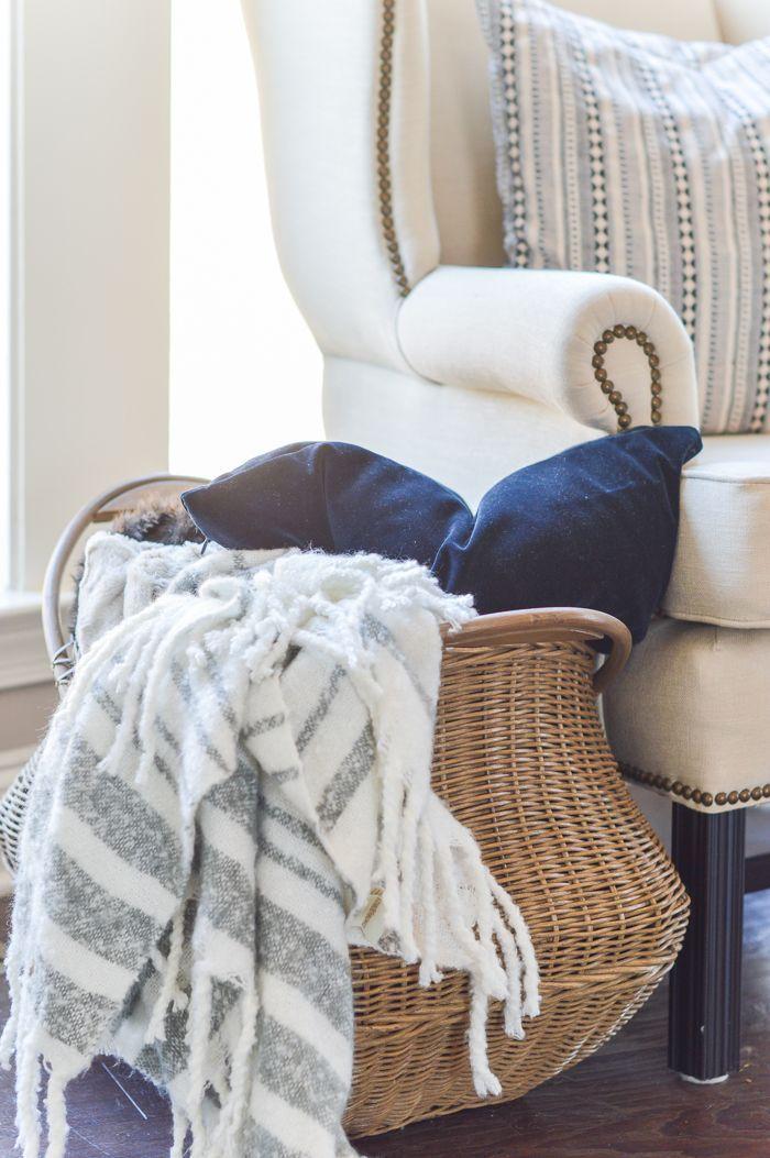 Blanket And Pillow Basket Next To Chair Pillow Storage, Blanket Storage,  Farmhouse Blankets,