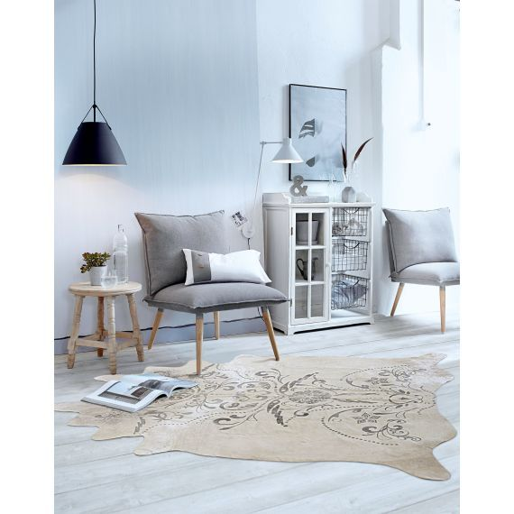 Sessel, ohne Lehnen, modern, Holz, Textil Katalogbild - kuhfell wohnzimmer modern