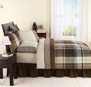 Best Amazon Com Brown Gray Black Plaid Boys Queen Comforter 640 x 480