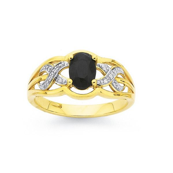 9ct Gold Black Sapphire & Diamond Infinity Ring