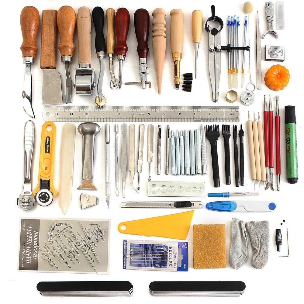c676ed19963e4 2 x Carving knife. 1 x Multi-Size Hole Punch. 4 x Prongs Diamond Pro-line  Stitching Working Tools (Prong:1/2/4/6). 60Pcs Leather Craft Tool Kit:. |  eBay!