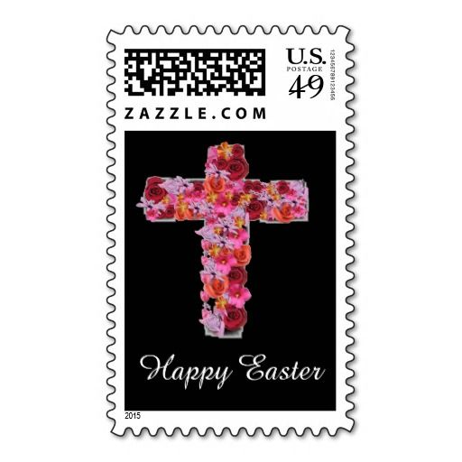 Amazing Floral Cross Design Happy Easter Stamps