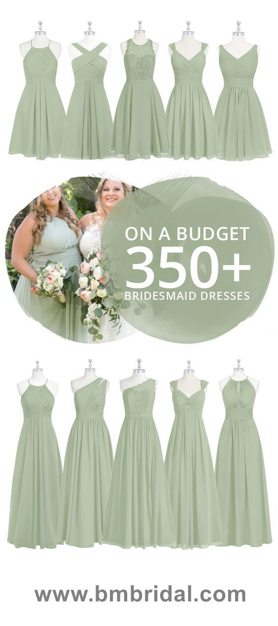 Dusty Sage Long or Short Bridesmaid Dresses On a Budget, Price Starts From $79