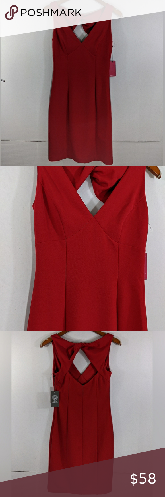 Vince Camuto Twist Open Back Cocktail Red Dress 2 Red Cocktail Dress Red Sheath Dress Red Dress [ 1740 x 580 Pixel ]
