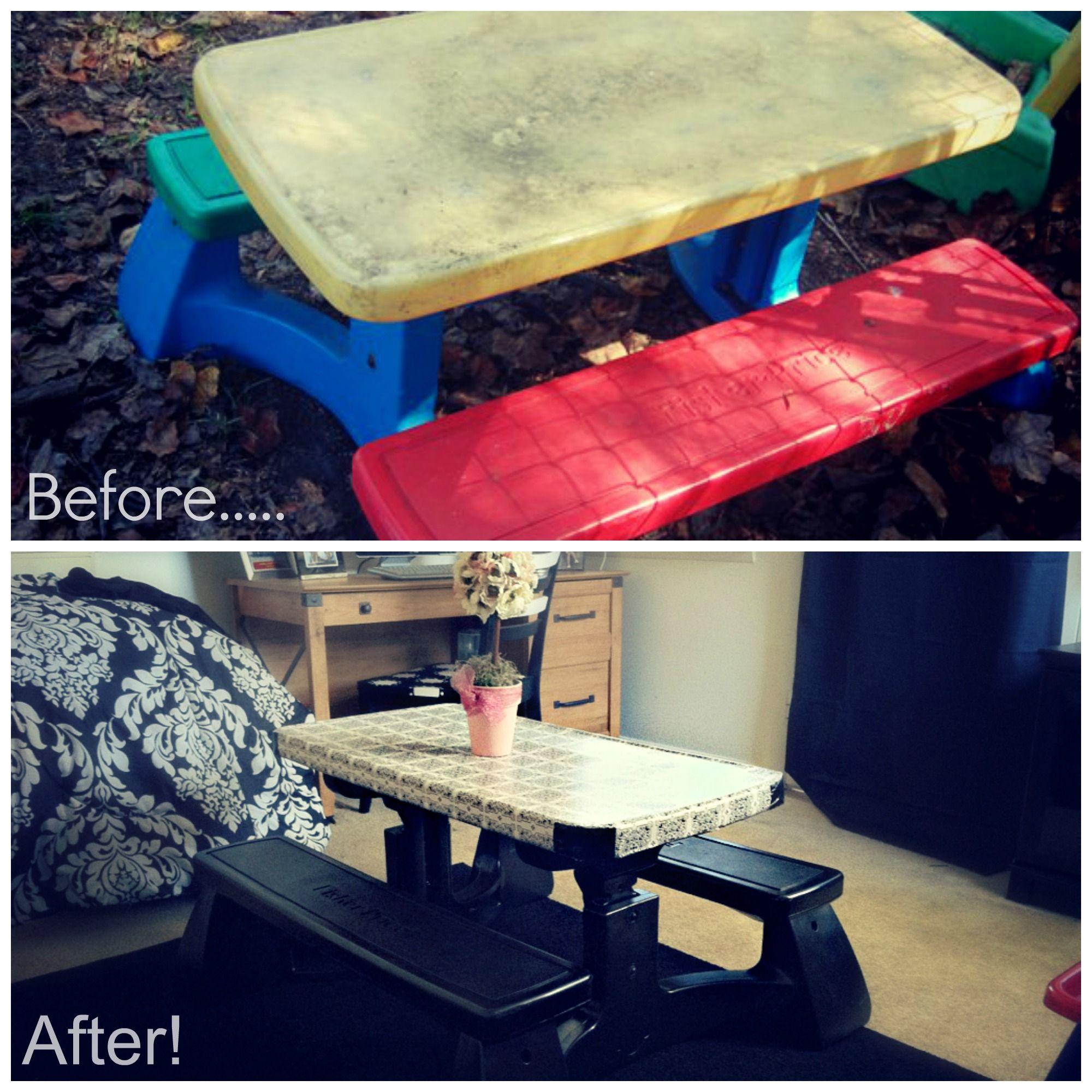 My fisher price plastic picnic table revamp chloe loves it cost my fisher price plastic picnic table revamp chloe loves it cost less than 10 watchthetrailerfo