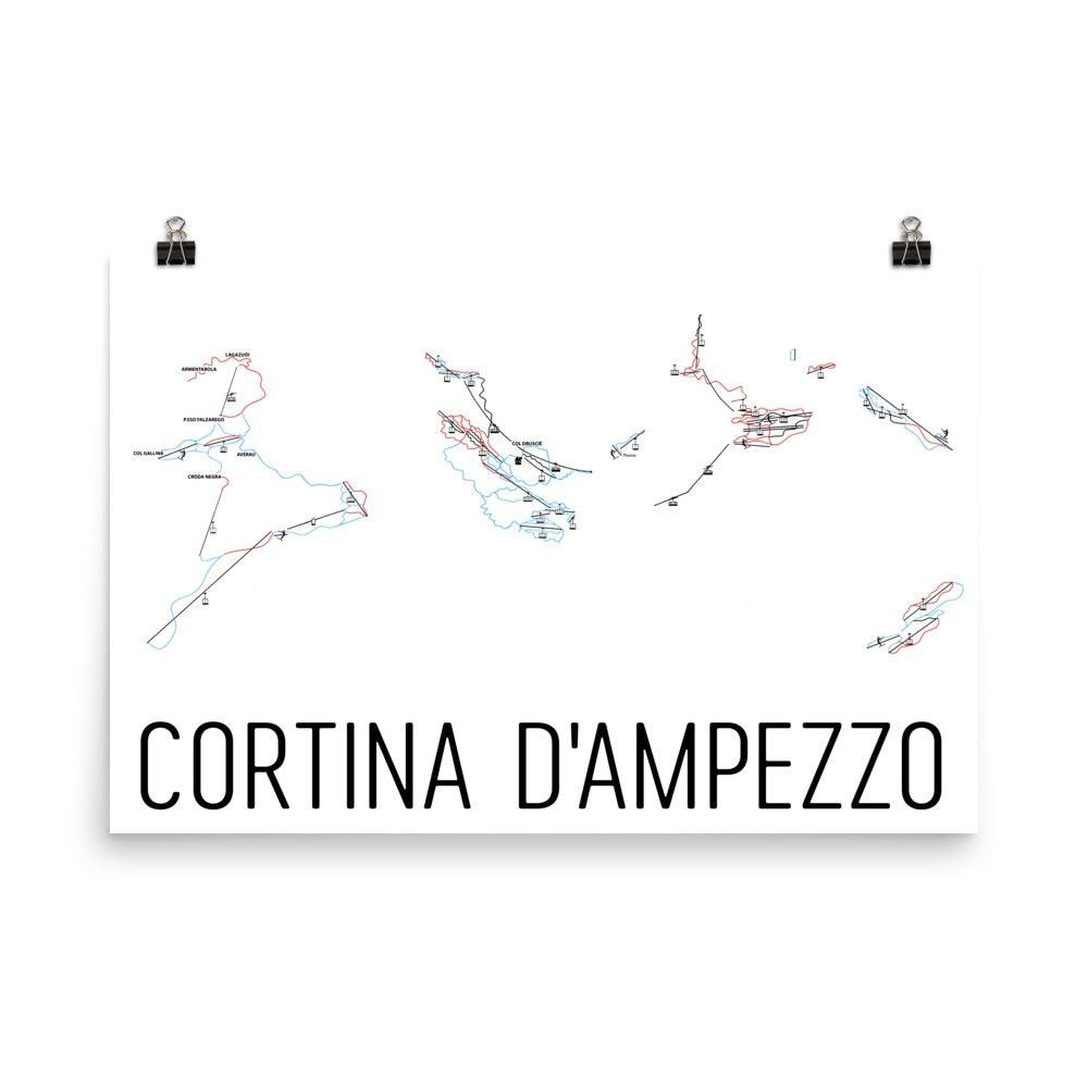 Cortina DAmpezzo Ski Map Art Trail Map Print Poster From 3999