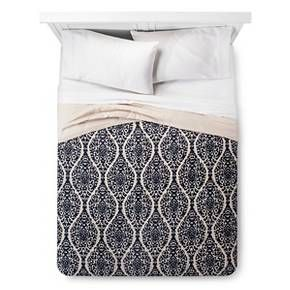 Blue Damask Linen Blend Printed Quilt - Threshold™ : Target