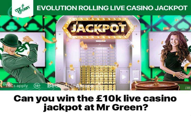 Rolling Live Casino Jackpot at Mr Green Casino