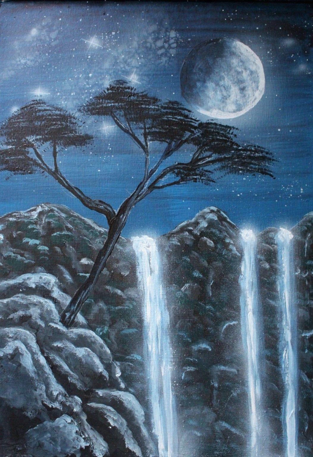 Waterfalls Moon Fullmoon Starrynight Night Sky Stars Tree Landscape Painting Art Waterfall Paintings Night Sky Painting Sky Painting