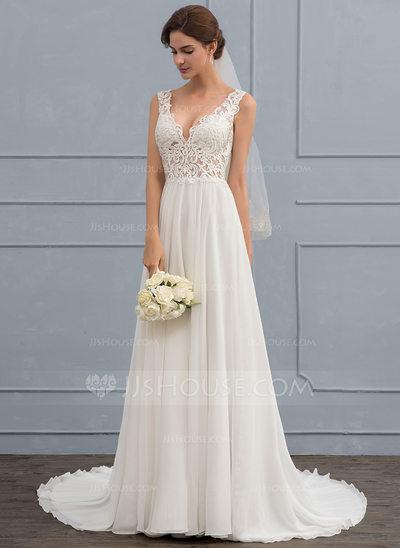 Photo of JJsHouse A-Line V-neck Court Train Chiffon Wedding Dress