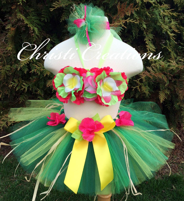 Girl Birthday Luau Outfit, Hawaiian Luau Tutu, Includes Grass ...