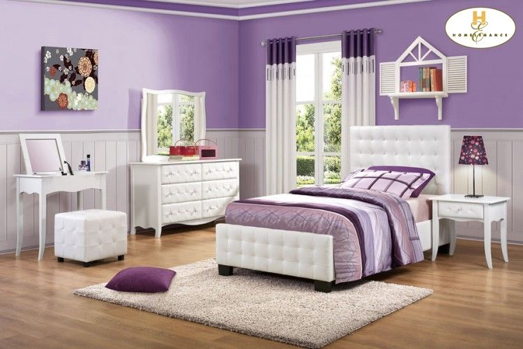 Adorable Purple U0026 White Theme. Love The Upholstered Bed! Furniture By  Homelegance  Available