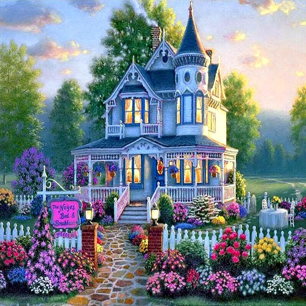 5d Diamond Painting Victorian Home Kit Croix Peintes Maison Dessin Les Arts
