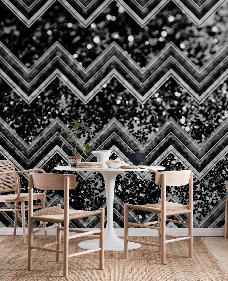 Black Night Glitter Chevron 1 Wall mural | Glitter chevron ...
