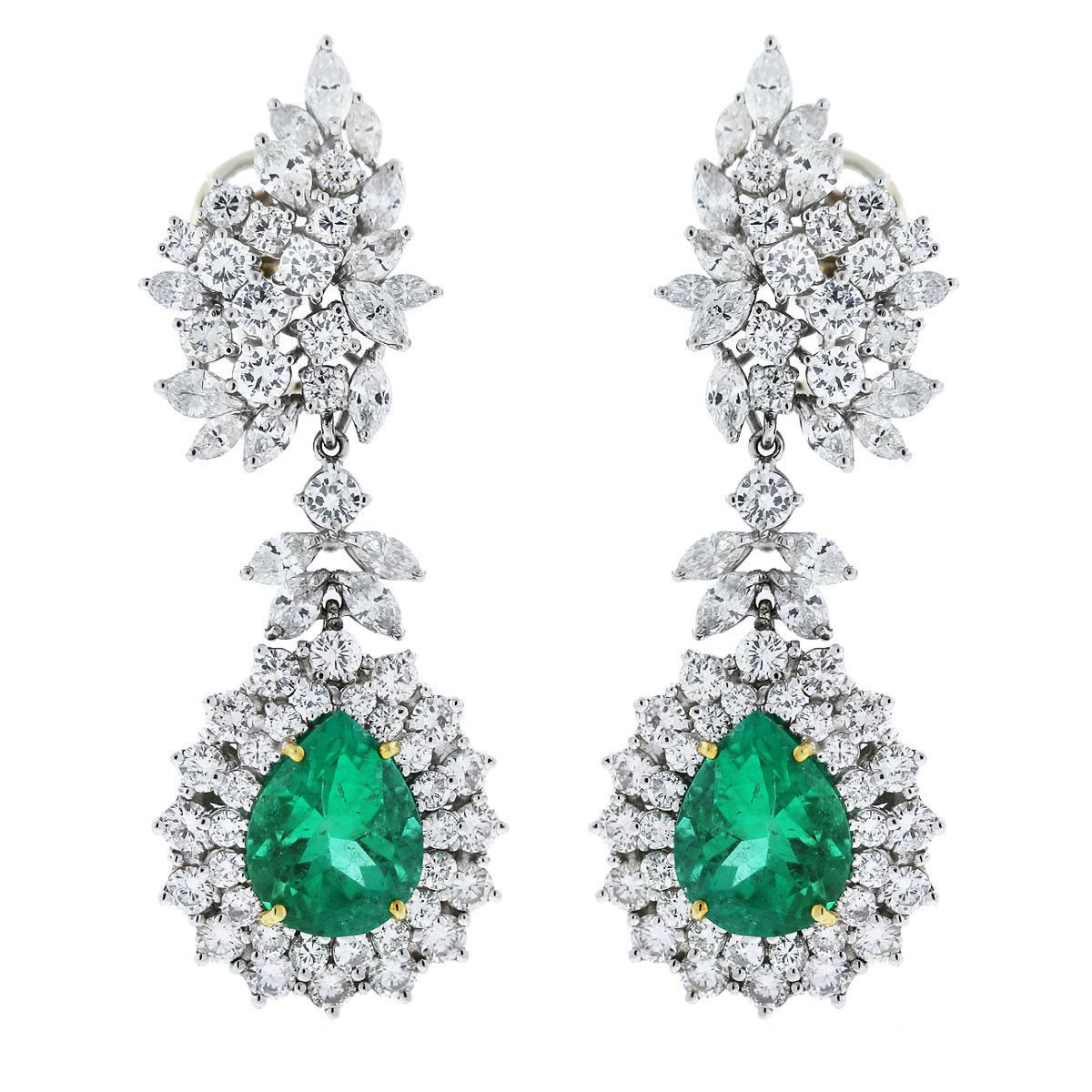 Platinum Pear Shape Emerald Marquise Round Cut Diamond Drop Earrings