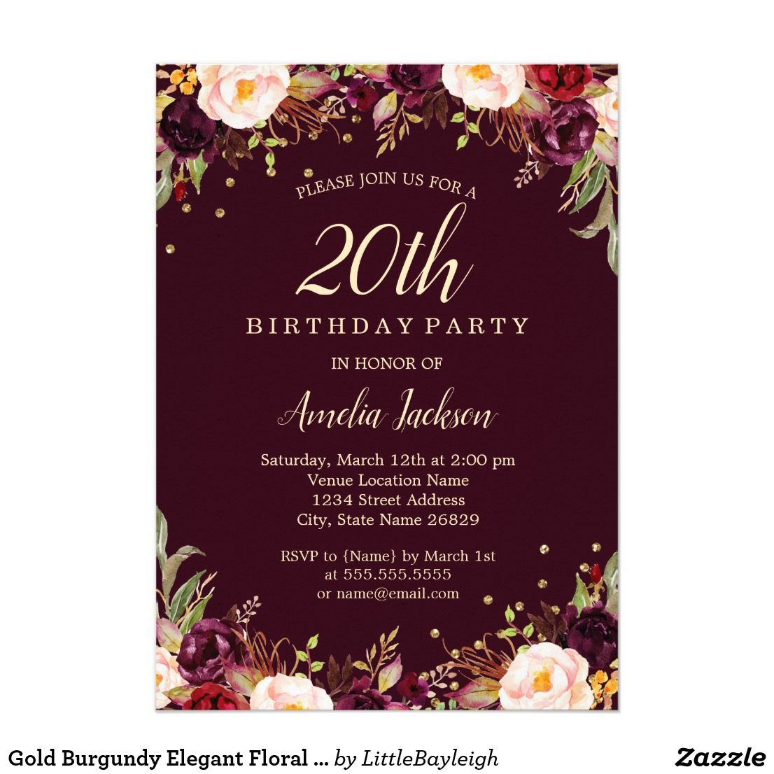 Gold burgundy elegant floral 20th birthday party card 20th gold burgundy elegant floral 20th birthday party card bookmarktalkfo Images